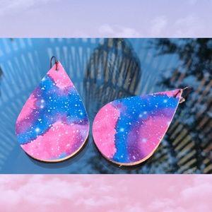 3/$20 Space Galaxy faux leather Earrings